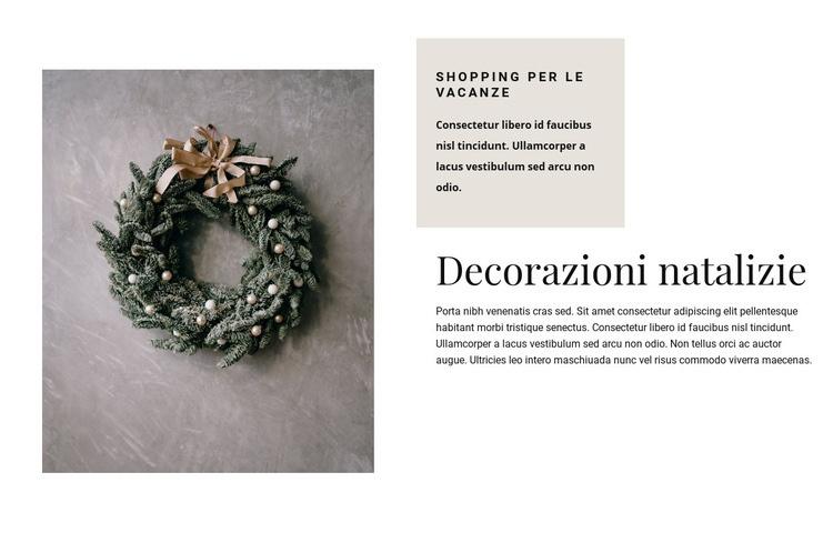 Decorazioni natalizie Modello di sito Web