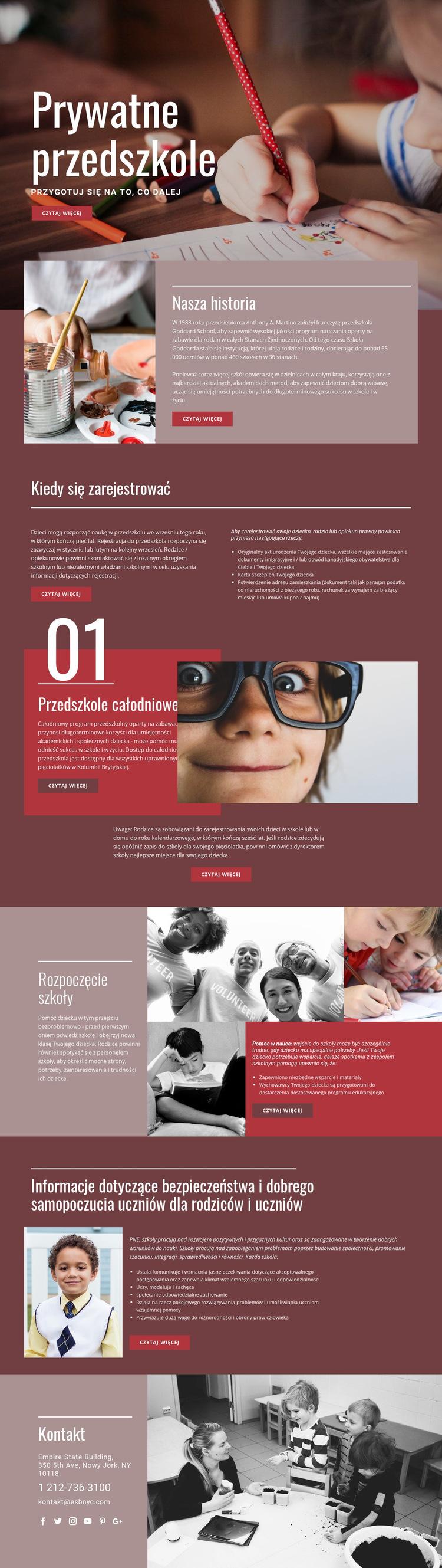 Prywatna edukacja podstawowa Szablon witryny sieci Web