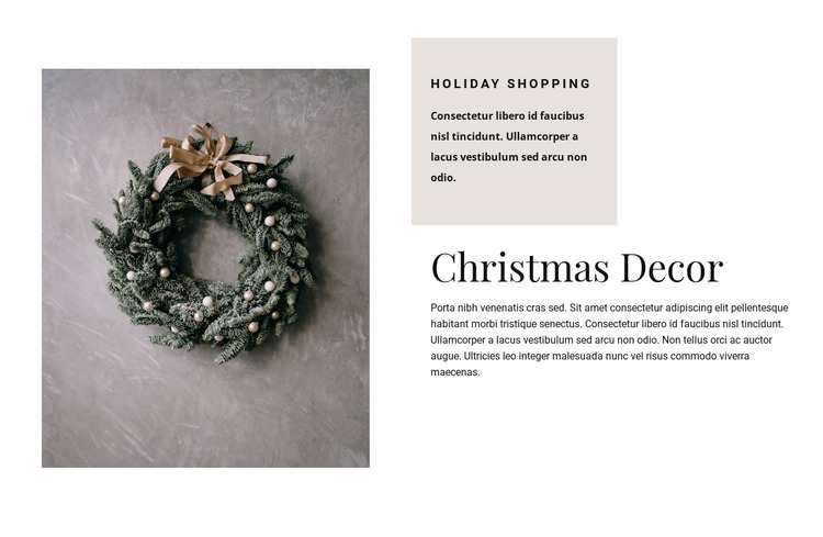 Christmas decor Website Mockup