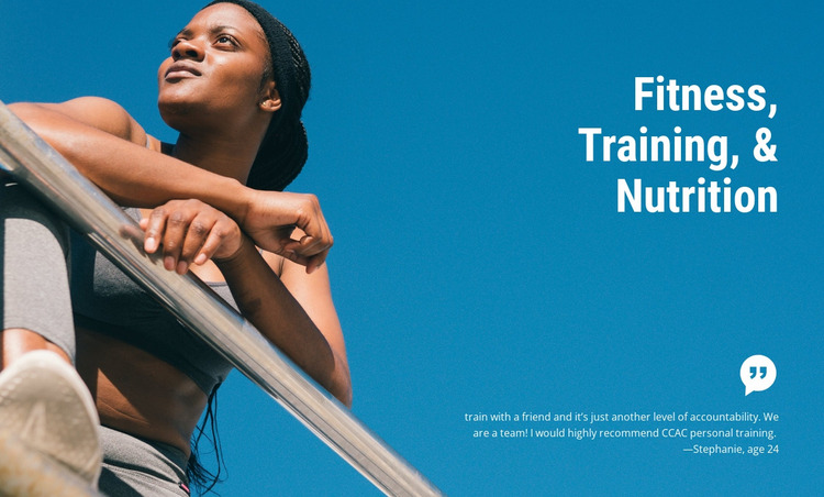 Fitness training and nutrition Website Mockup