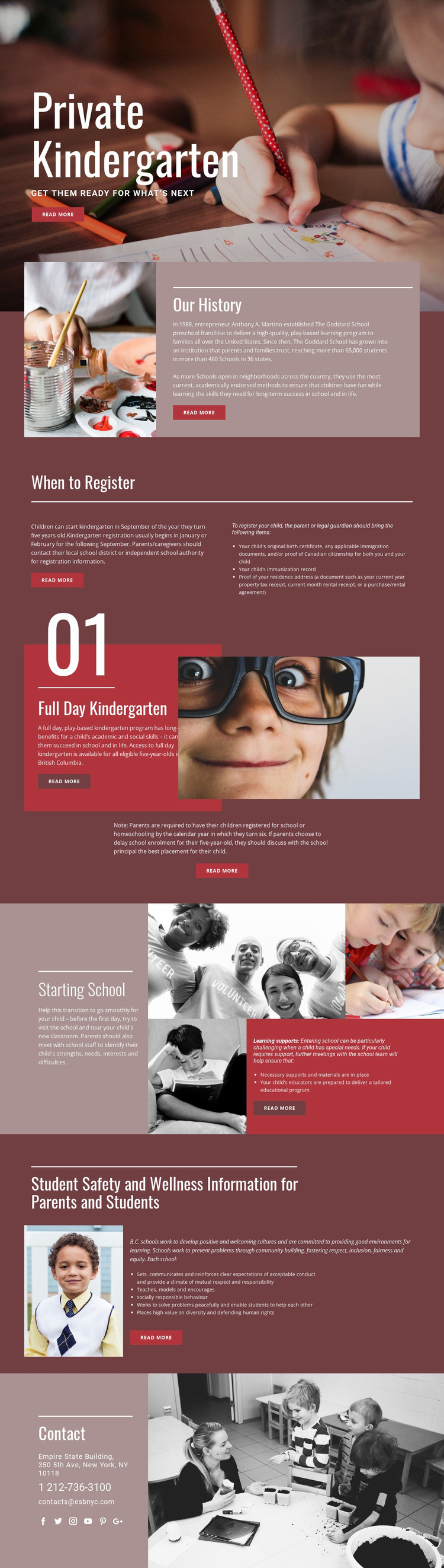 Private elementary education Website Mockup