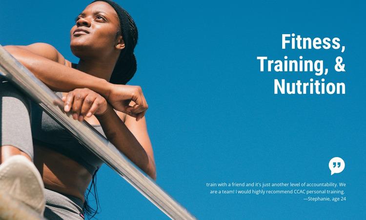 Fitness training and nutrition WordPress Website Builder
