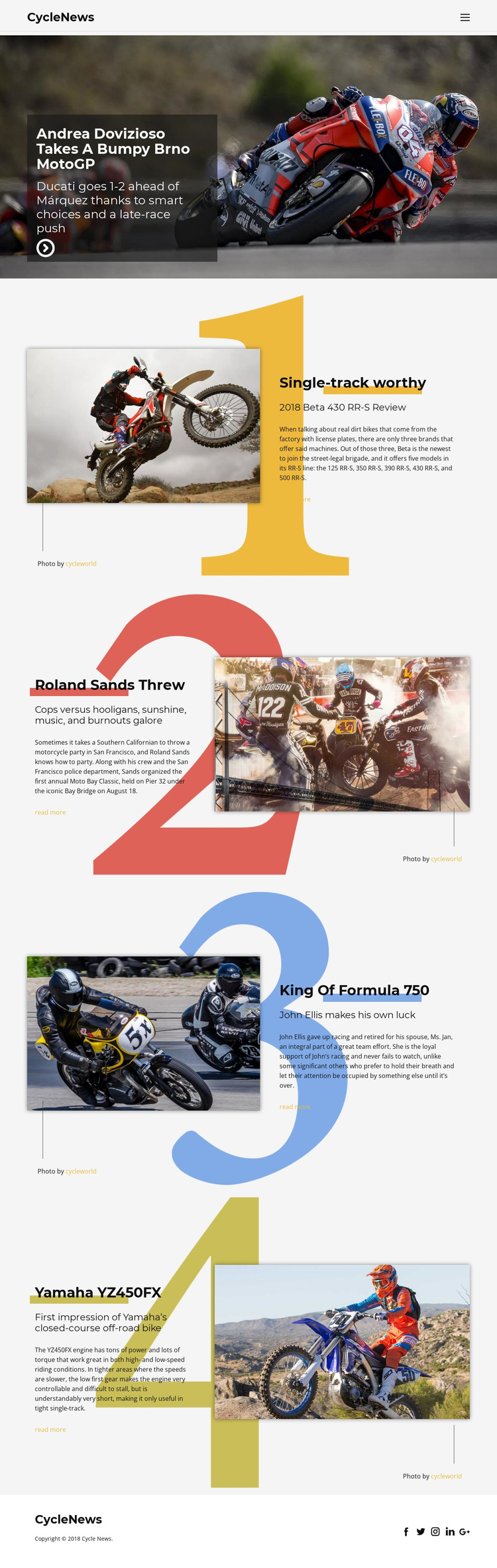 Motosport One Page Template