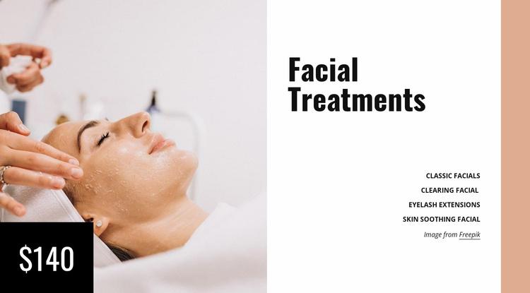 Facial treatments Website Template