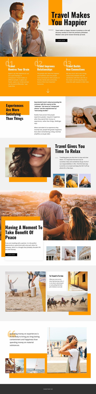 Travel Makes You Happier Website Mockup