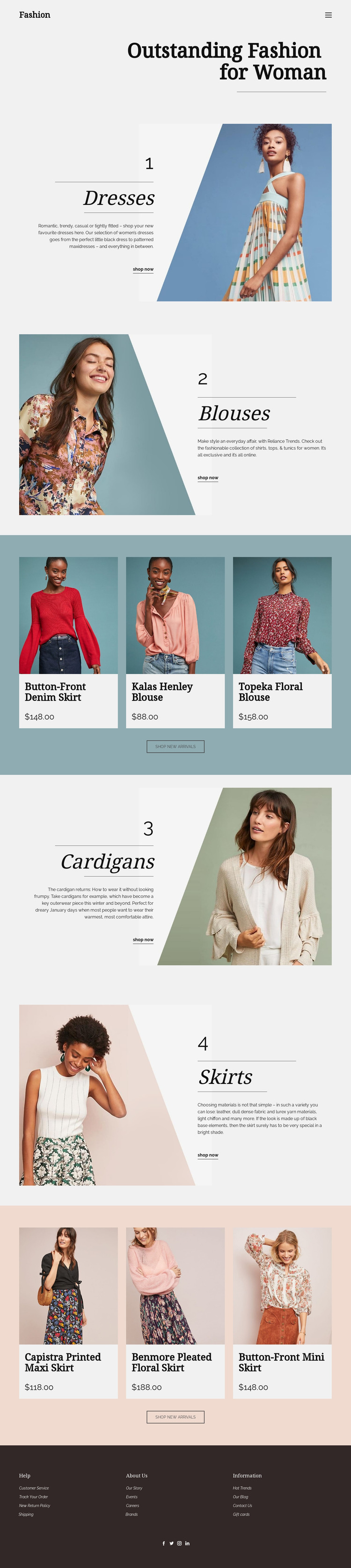 Fashion for Woman Website Mockup