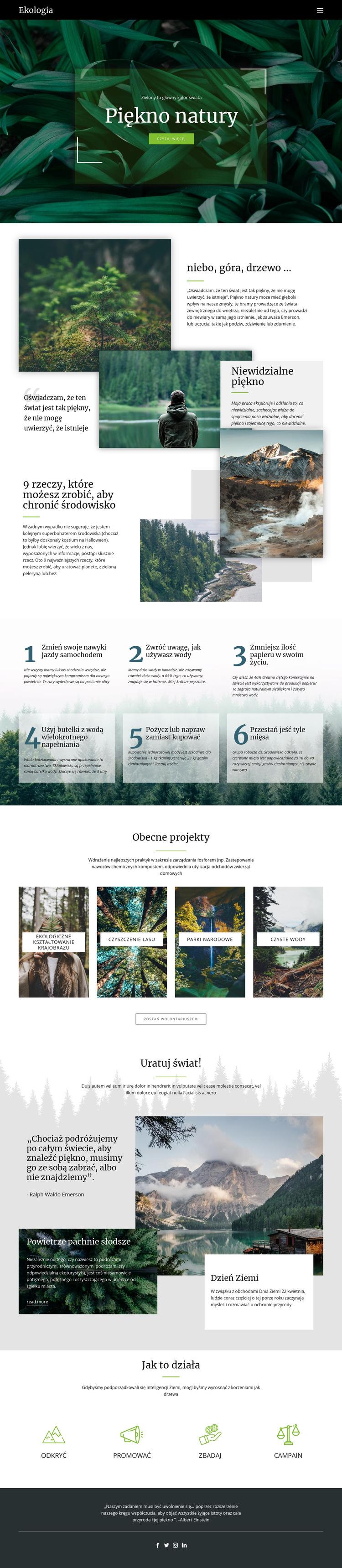 Niebo i piękno przyrody Szablon witryny sieci Web