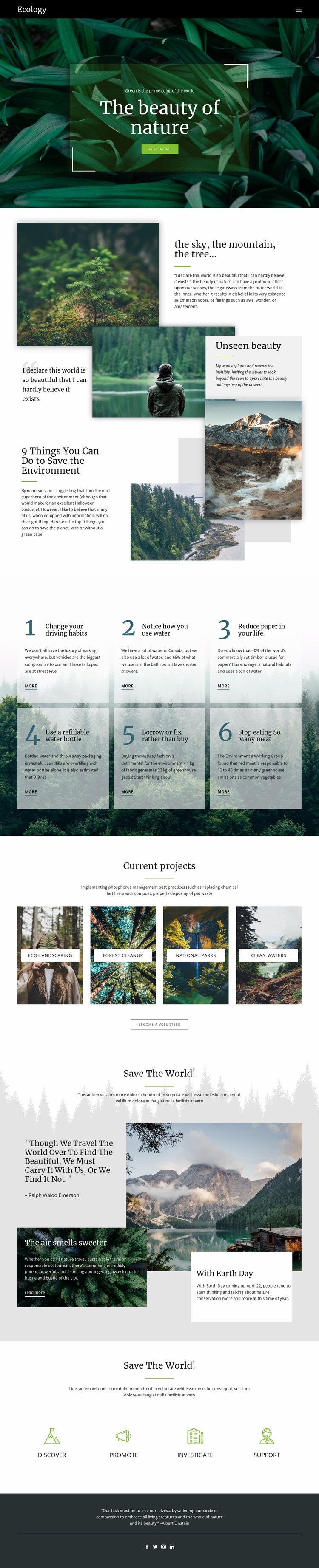 Skies and beauty of nature Website Mockup