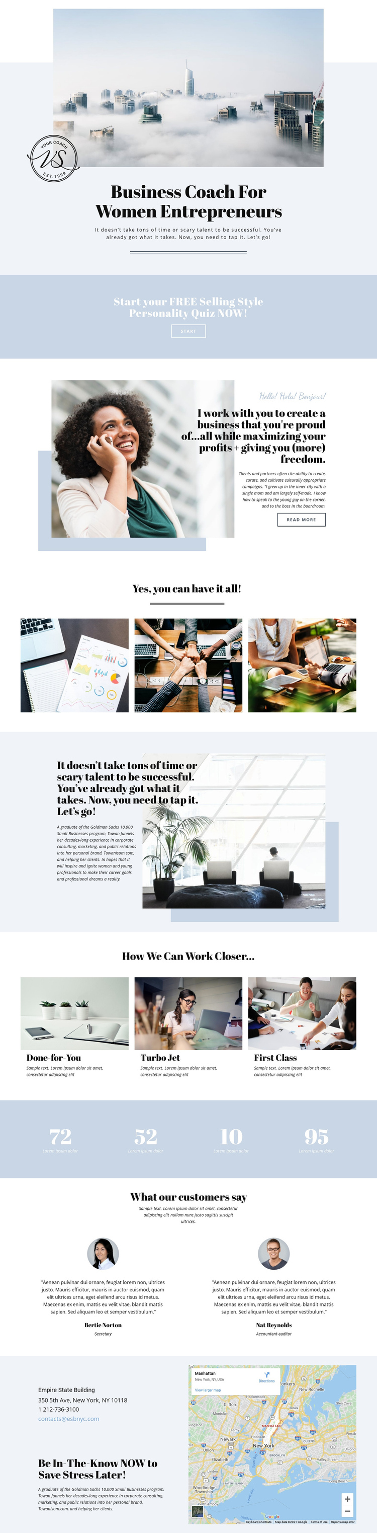 Business women entrepreneurs One Page Template