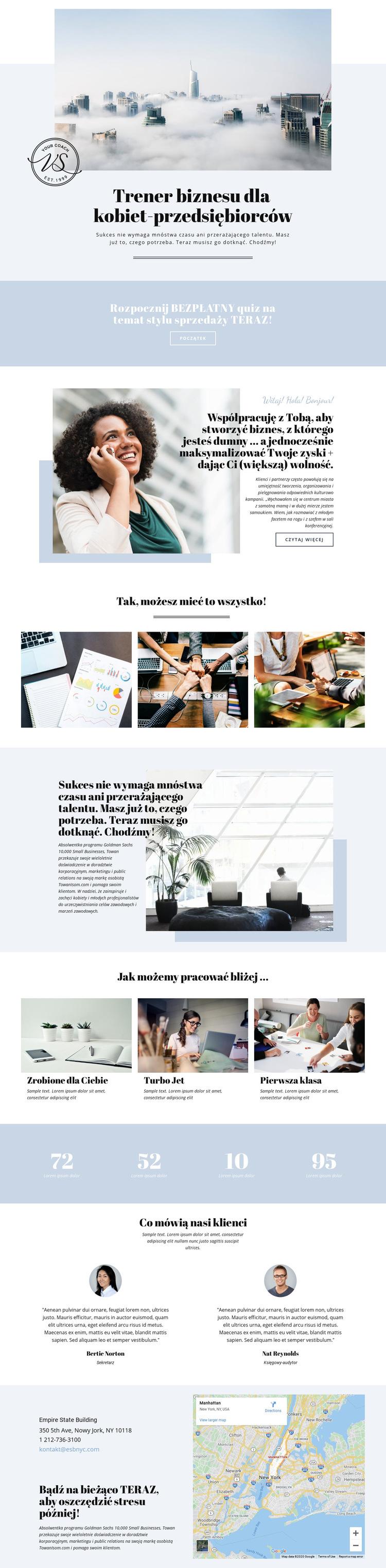 Przedsiębiorcze kobiety biznesu Szablon witryny sieci Web