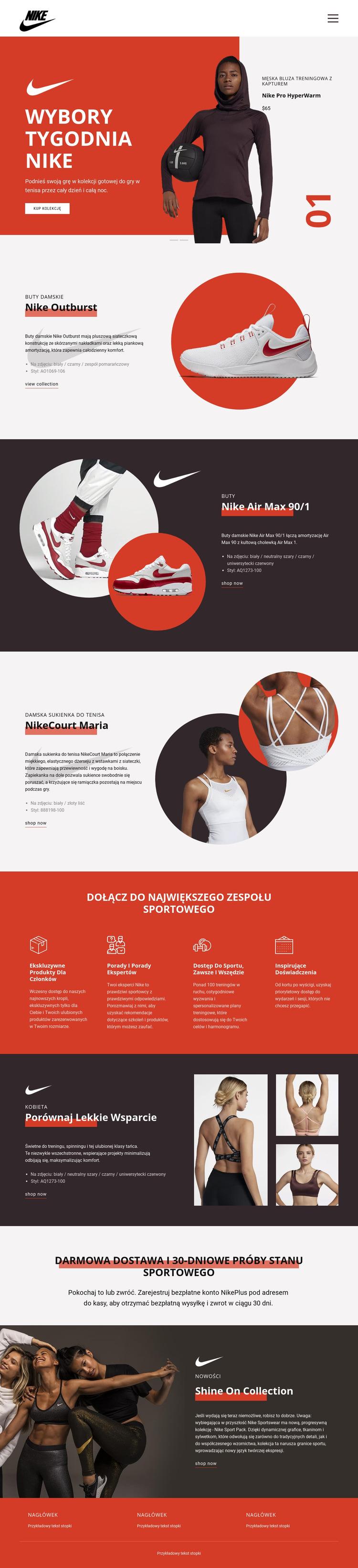 Ulubione Nike Szablon witryny sieci Web