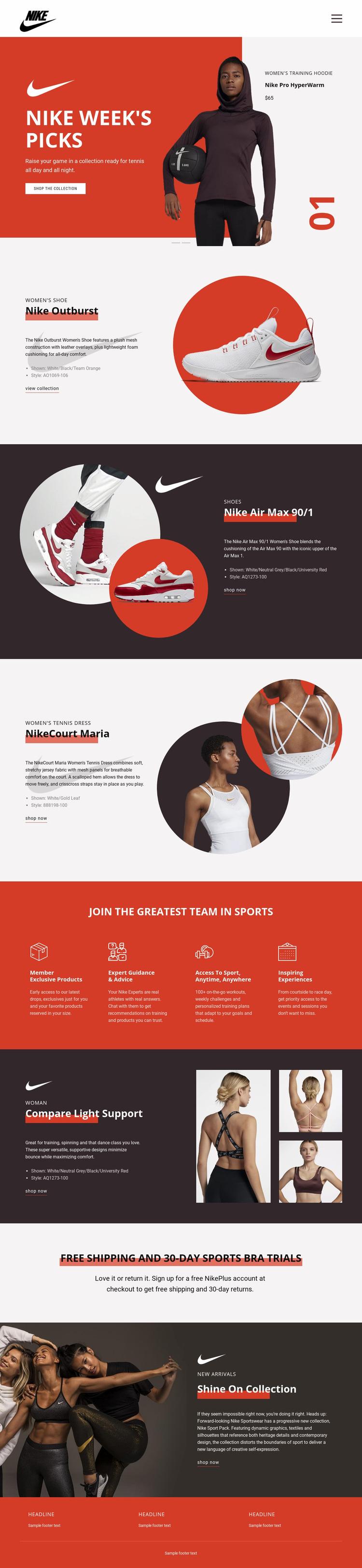 Nike Favorites Web Page Designer