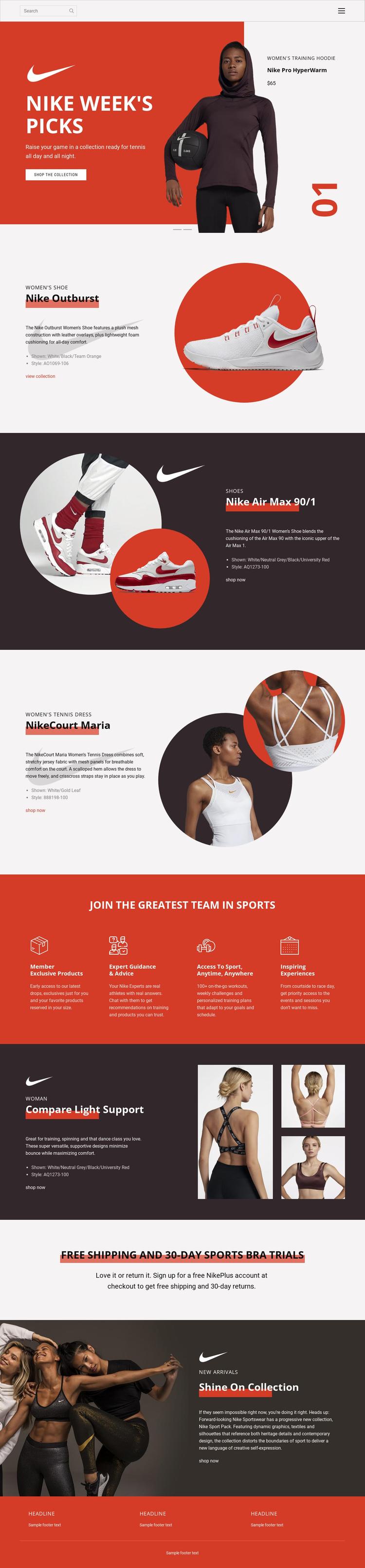 Nike Favorites Website Builder Software