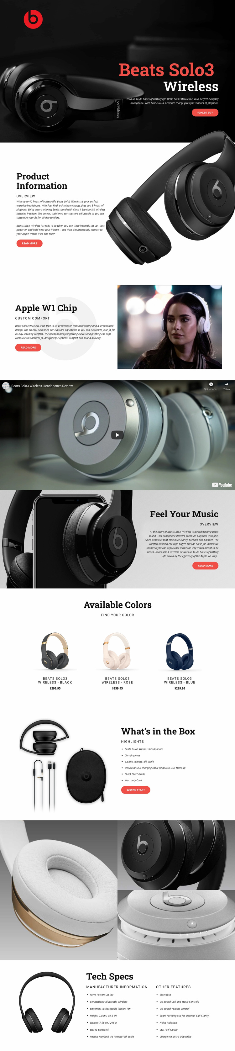 Outstanding quality of music Landing Page