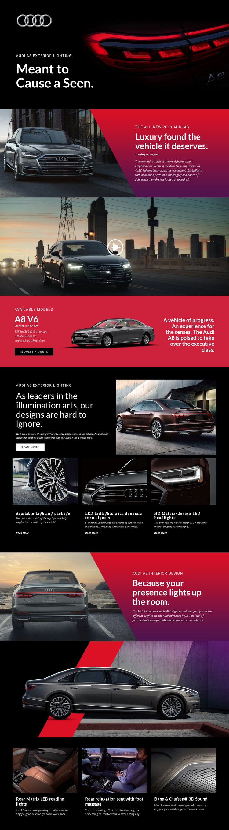 Audi luxury cars Website Builder Software