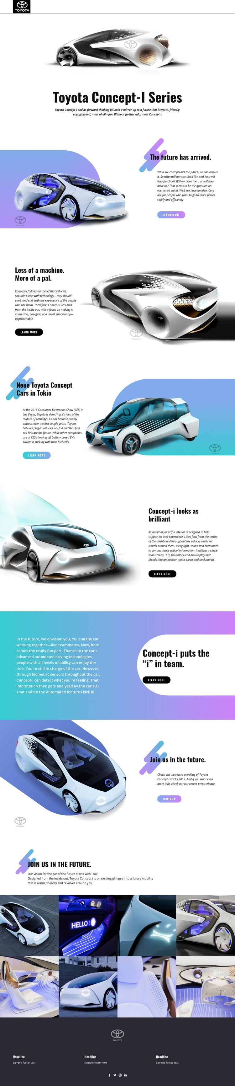 Advanced innovation cars Homepage Design