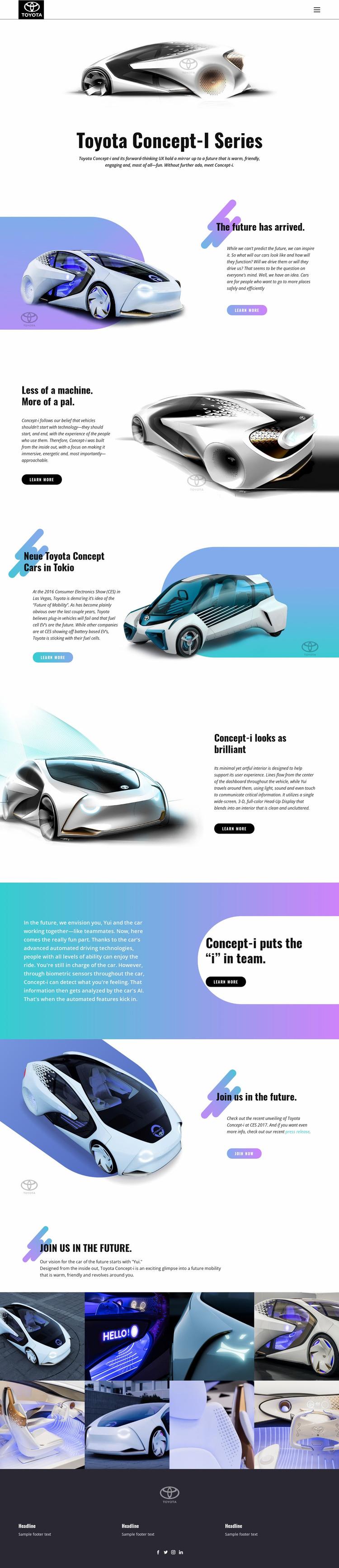 Advanced innovation cars Website Mockup