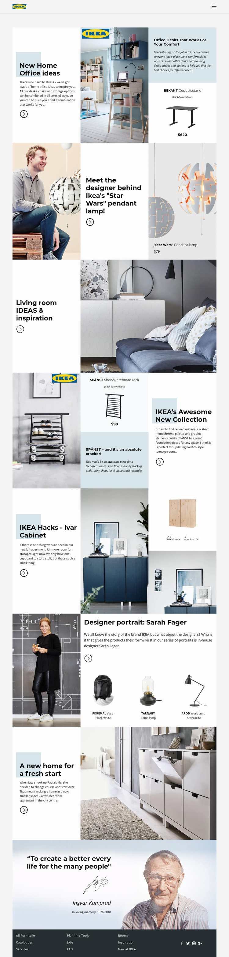Inspiration from IKEA Web Page Designer