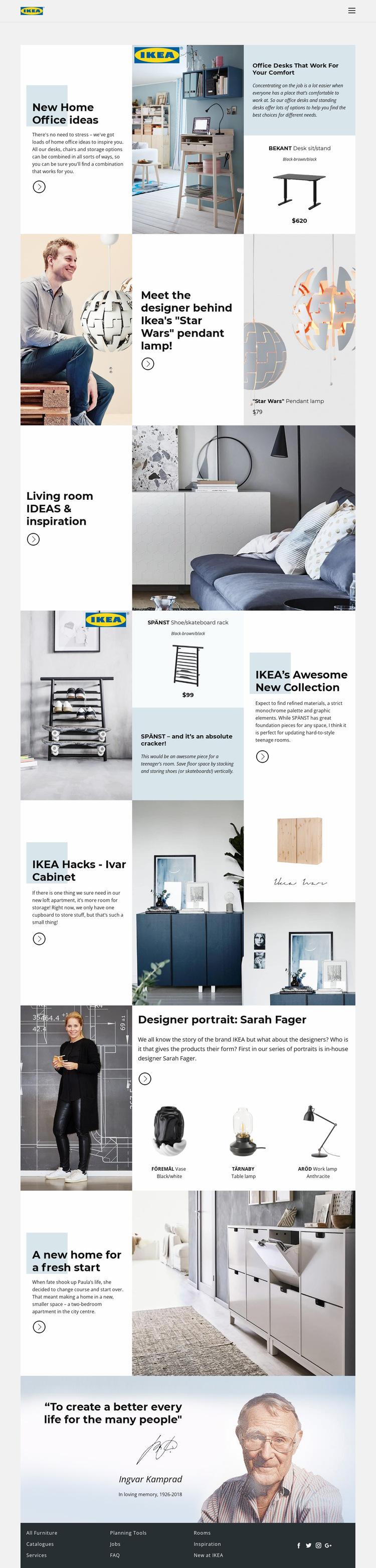 Inspiration from IKEA Website Builder