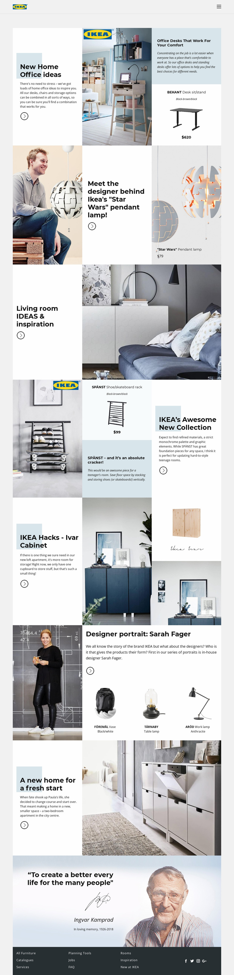 Inspiration from IKEA Website Template
