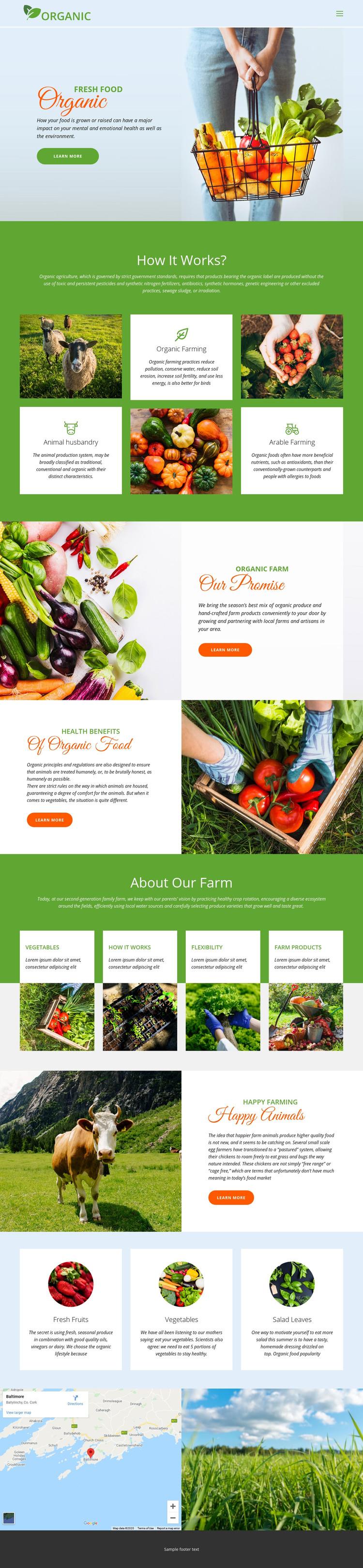 Eat best organic food Homepage Design
