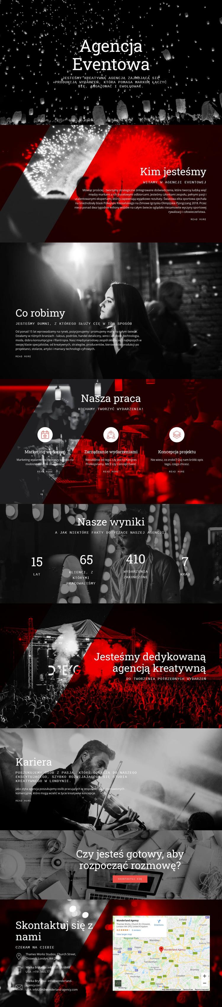 Agencja Eventowa Szablon witryny sieci Web
