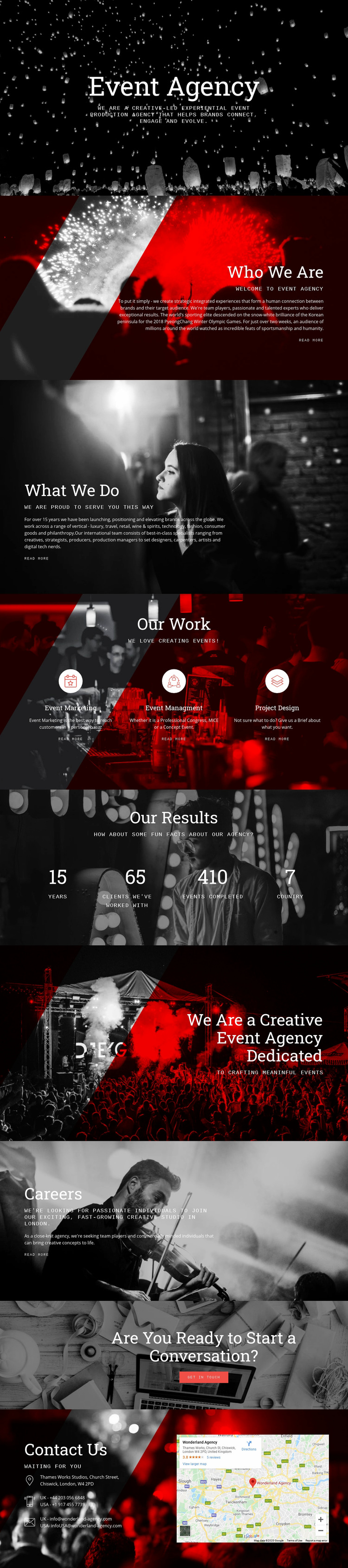 Event Agency Web Page Design