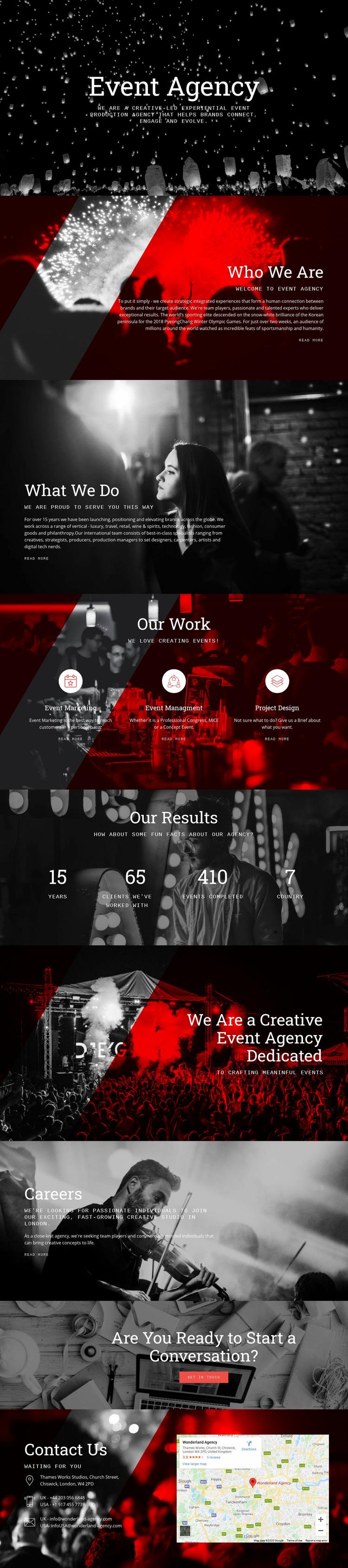 Event Agency Web Page Designer