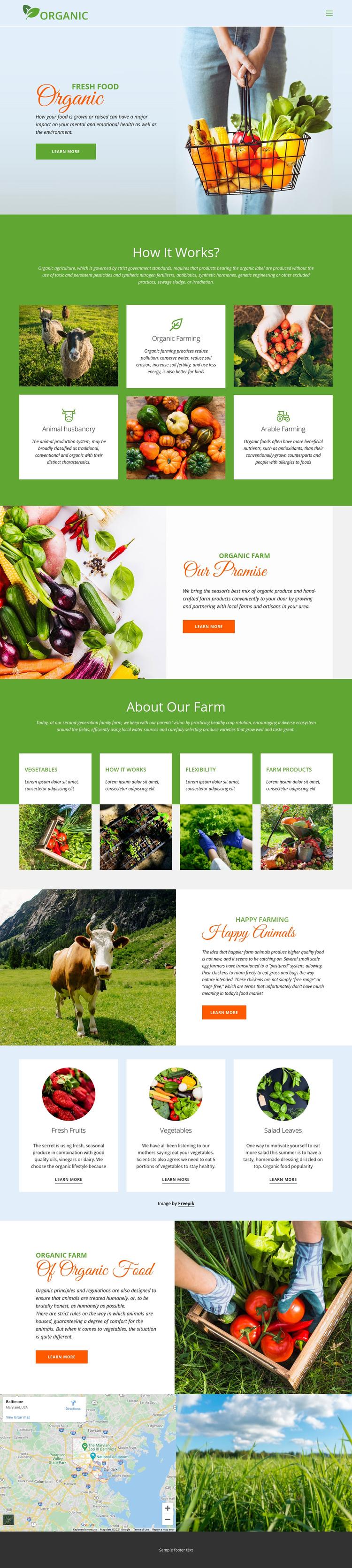 Eat best organic food Website Builder Software