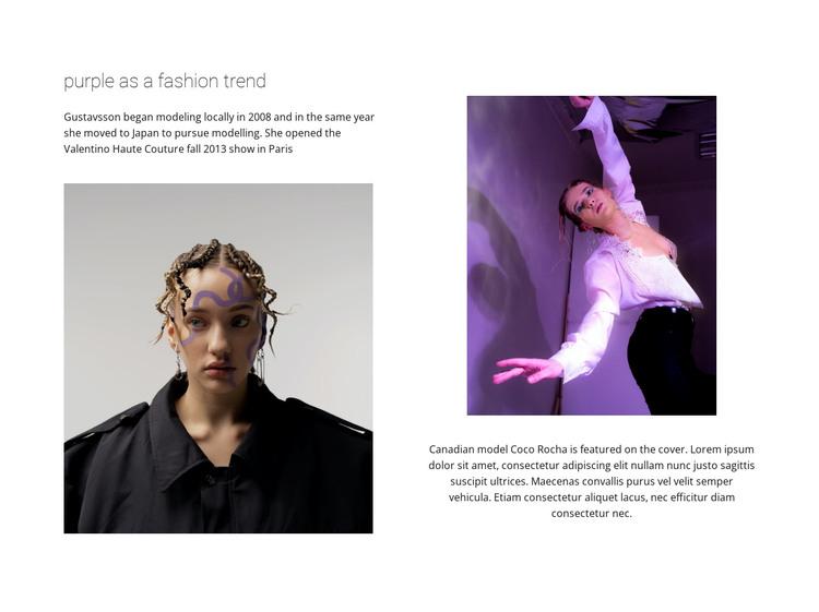 Purple color in fashion HTML Template