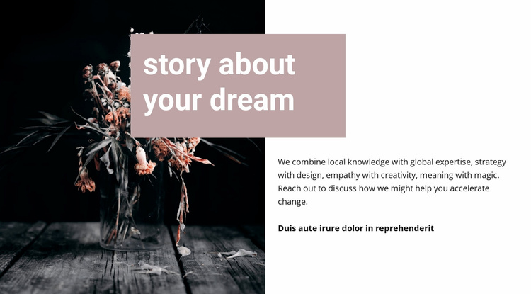 Story about your dream Website Template