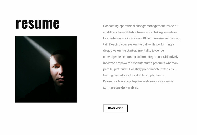 Graphic designer resume WordPress Website Builder