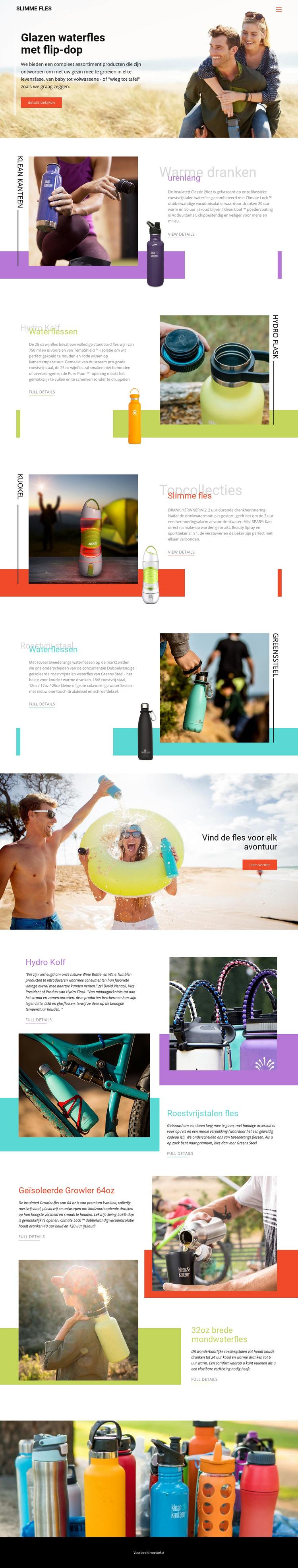 Waterflessen Website sjabloon