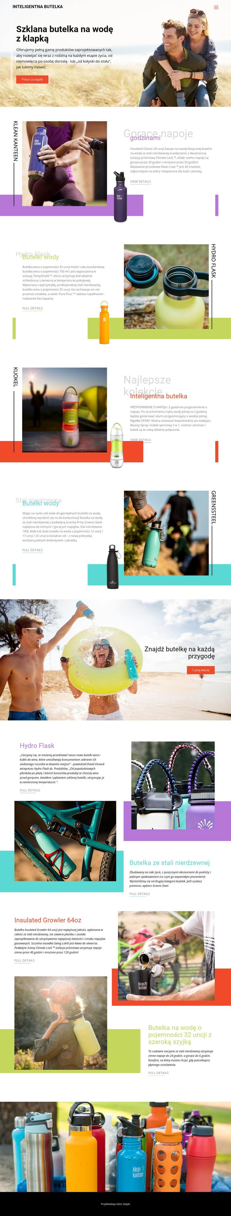 Butelki wody Szablon witryny sieci Web