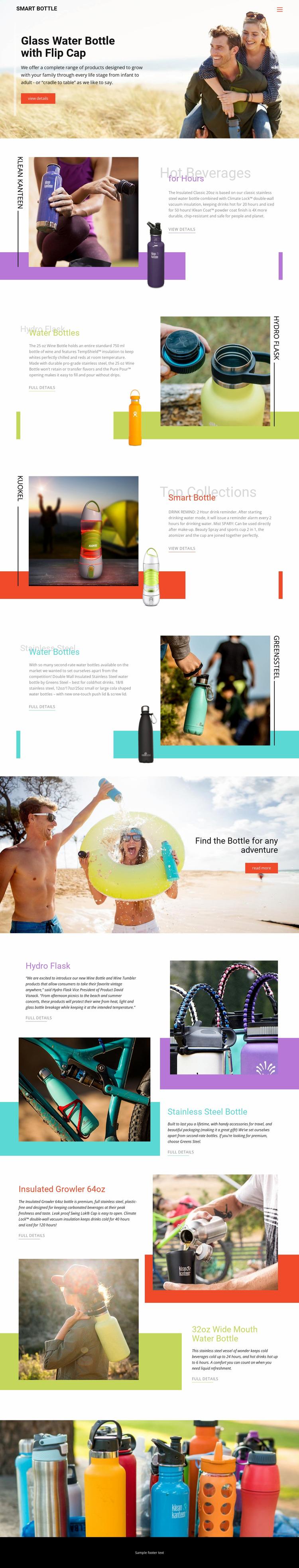 Water Bottles Website Mockup