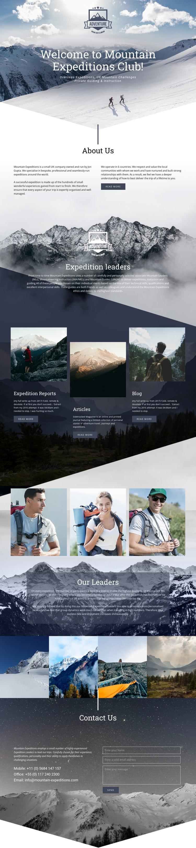 Extreme mountain expedition Joomla Template