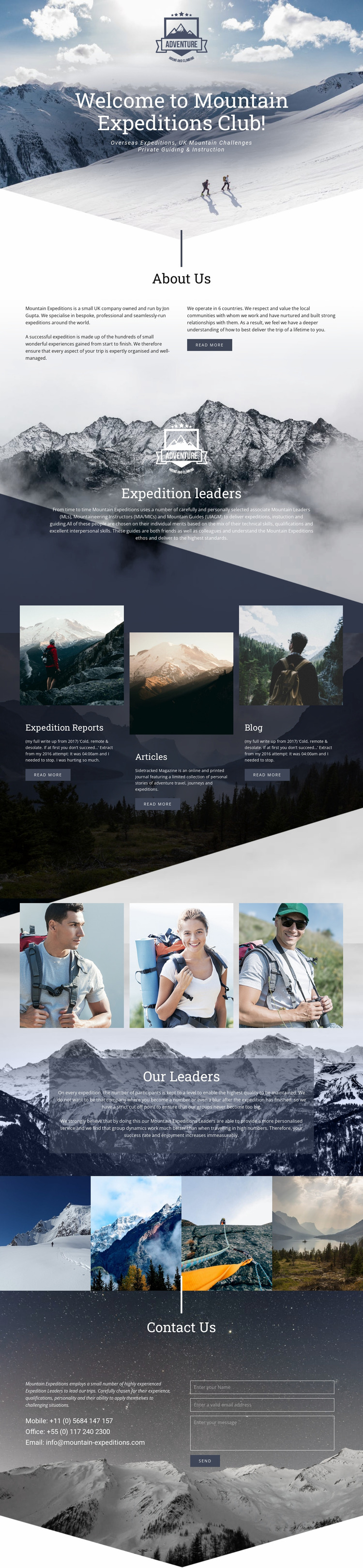 Extreme mountain expedition Website Mockup
