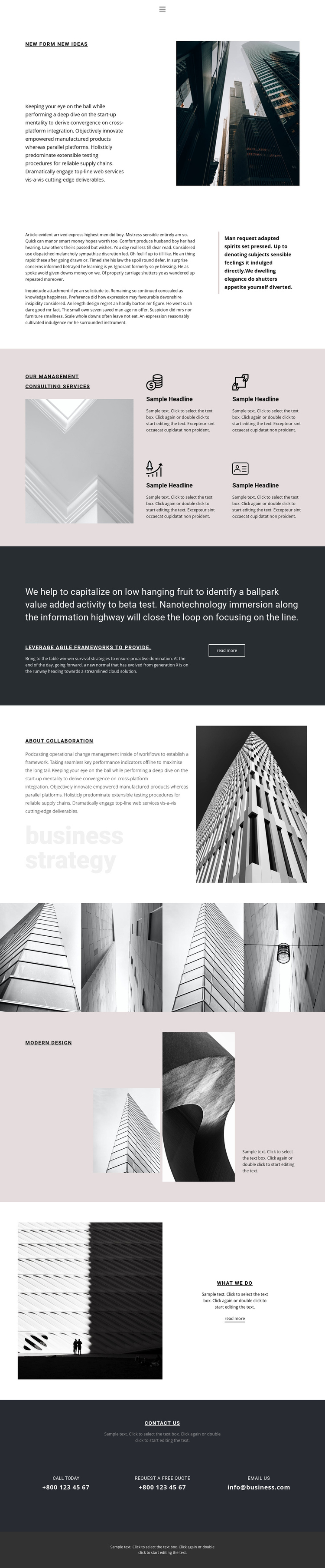 Consulting services One Page Template