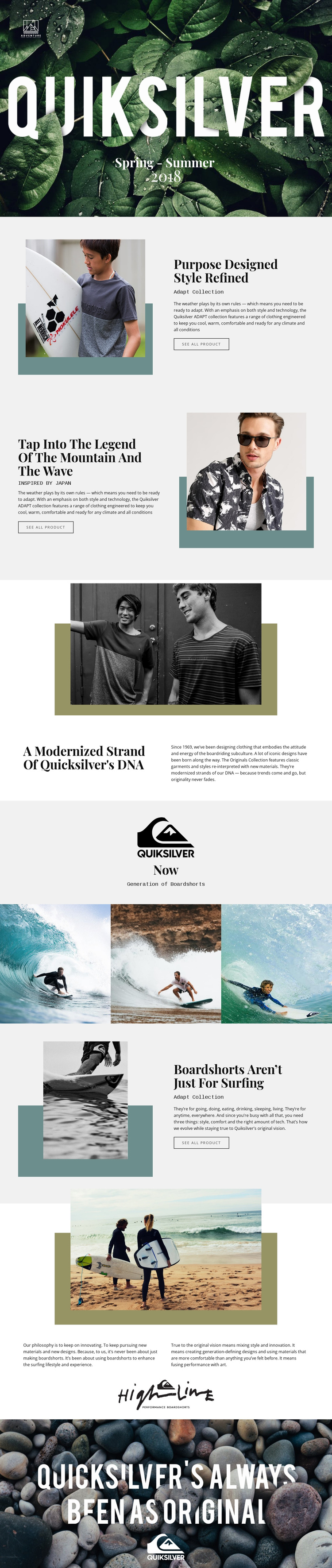 Quiksilver One Page Template