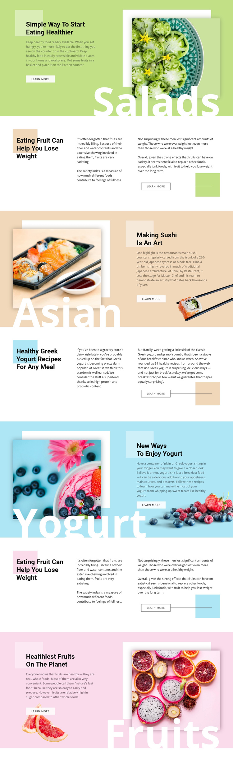 Healthy menu One Page Template