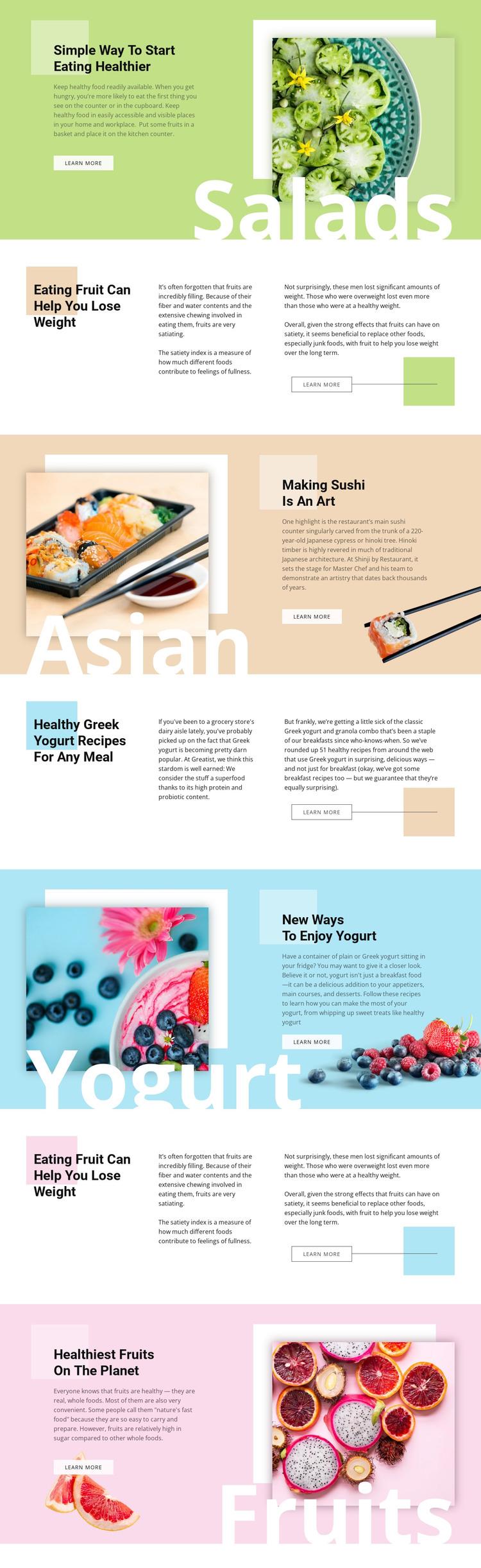 Healthy menu WordPress Theme