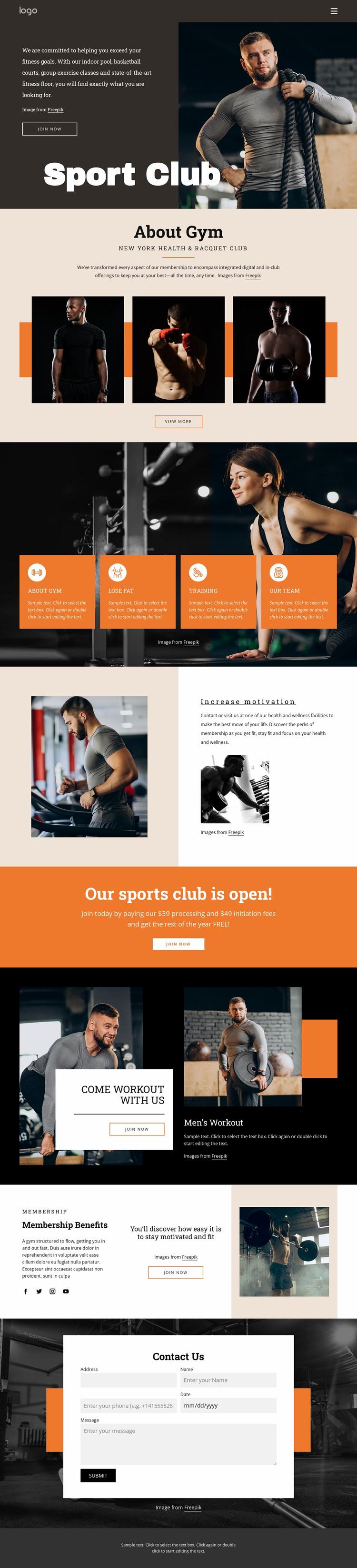 Convenient personal training programs Website Mockup