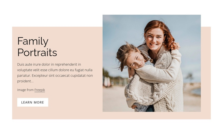 Studio family portraits Web Page Design