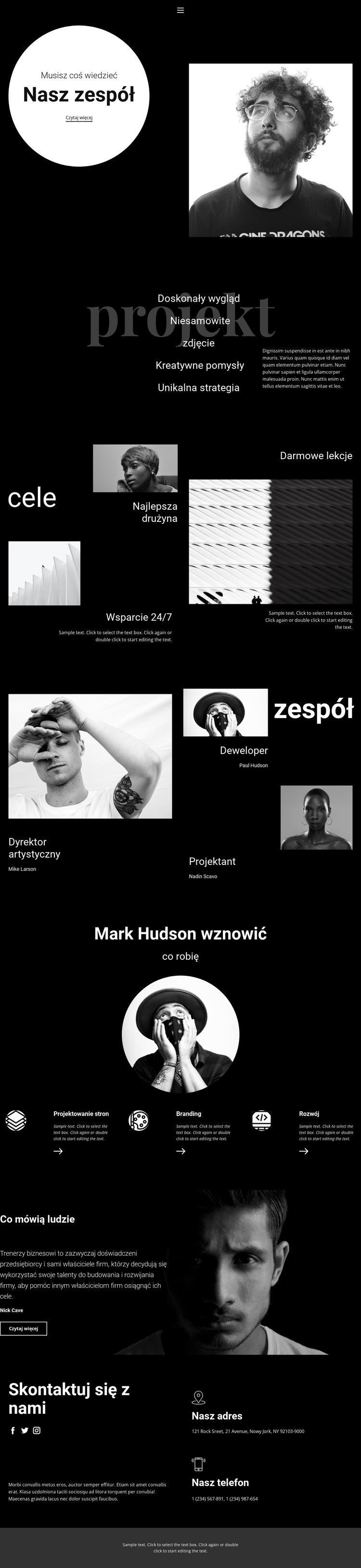 Zespół projektowo-programistyczny Szablon witryny sieci Web