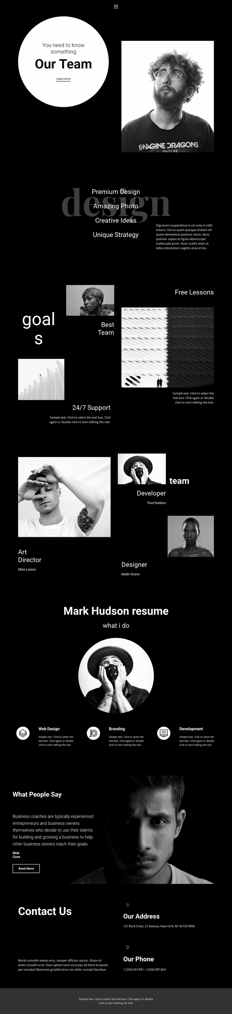 Design and development team Landing Page