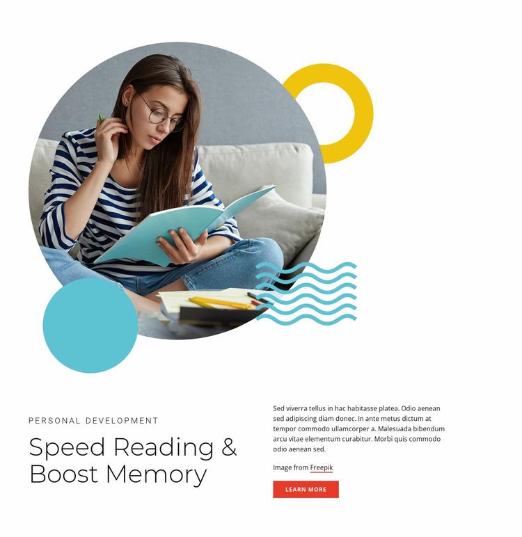 Speed reading courses Website Mockup