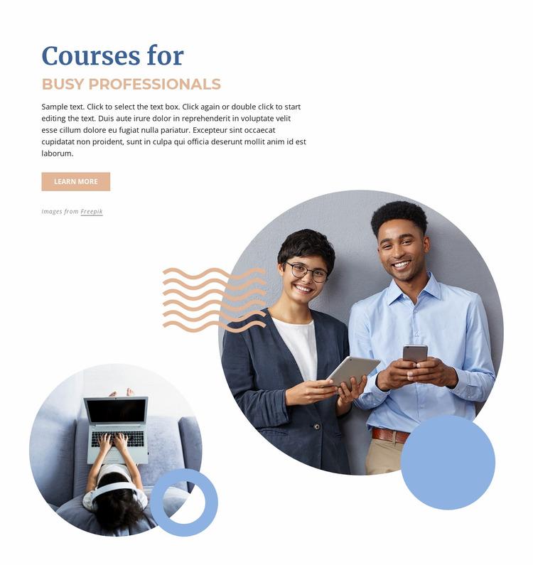 Courses for buzy professionals Website Mockup