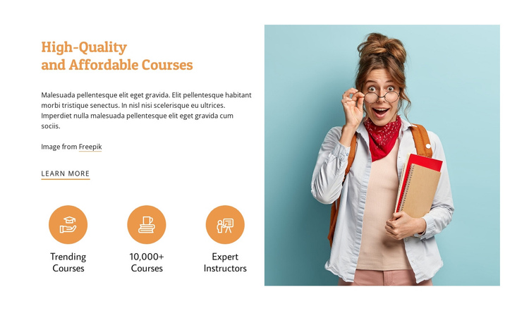 Affordable courses One Page Template