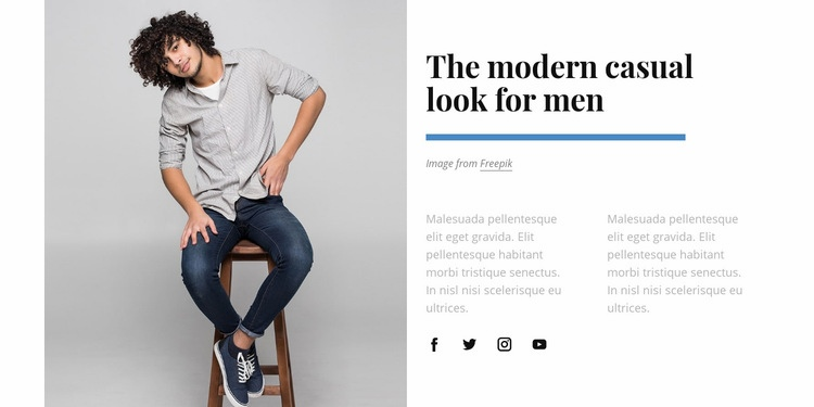 Casual look for man Web Page Design