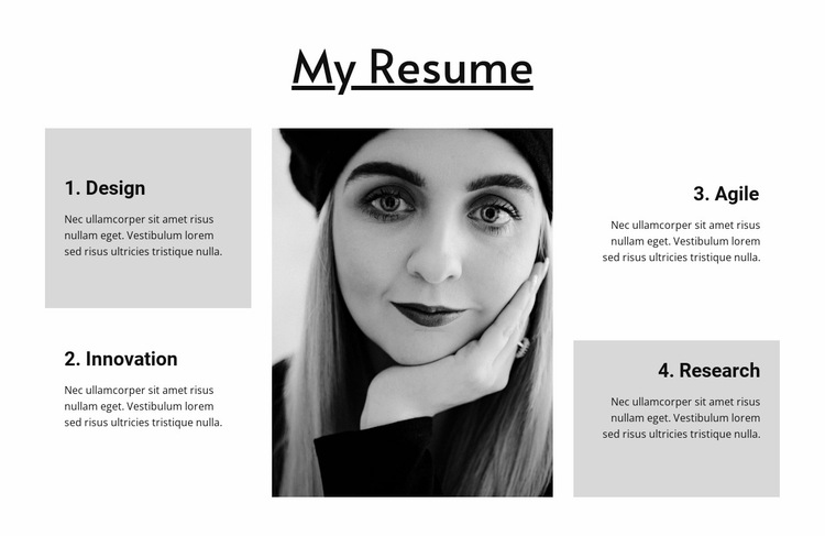 Resume of a wide profile designer Website Builder